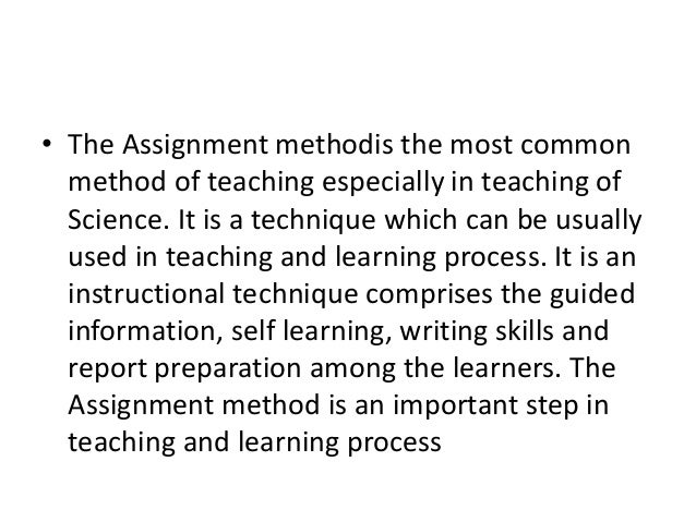 Assignment method teaching