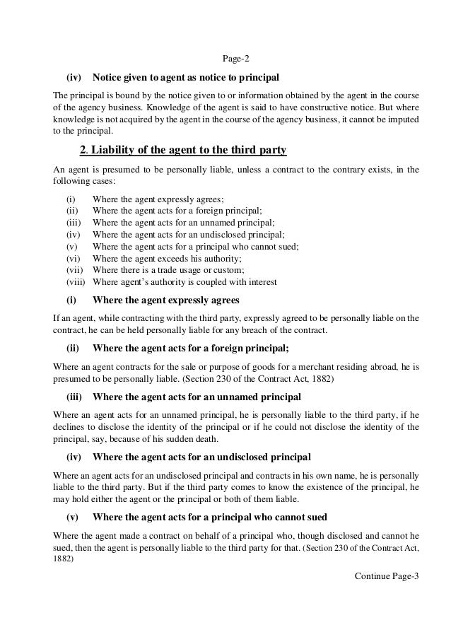 principal liable for acts of agent