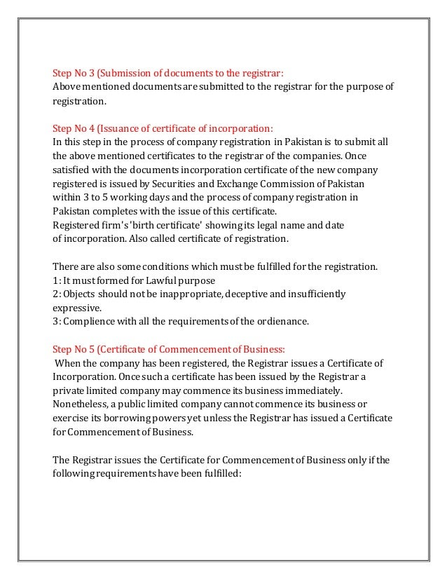company registration letter