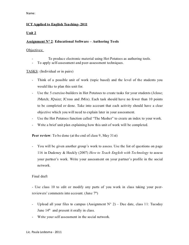 Name:ICT Applied to English Teaching- 2011Unit 2Assignment N° 2: Educational Software – Authoring ToolsObjectives:   -    ...