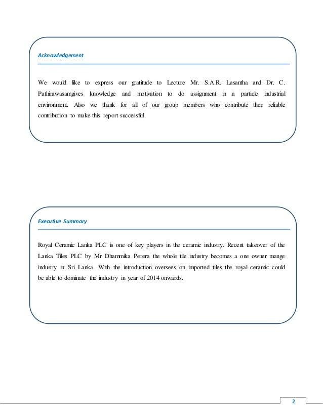 Ratio Analysis In Royal Ceramic Lanka Plc