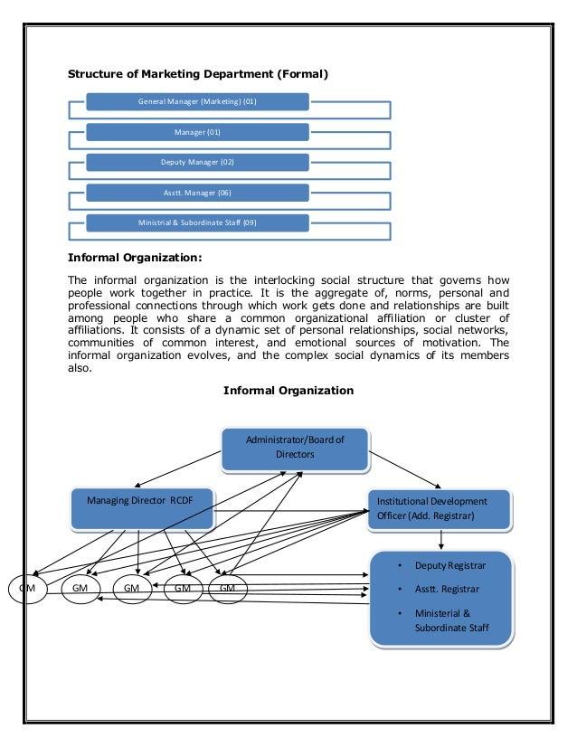 Structure of Marketing Department (Formal) Informal Organization: The informal organization is the interlocking social str...