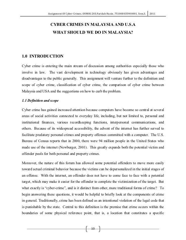 Assignment Of Cyber Crimes. OUMH1203.Faridah Husin. 751008035900001. Sem.3.   2011                    CYBER CRIMES IN MALA...