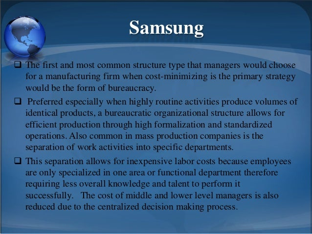 samsung hierarchy of authority Types of organization types of departmentalization centralization and creation of hierarchy of superiors and the line of authority flows.