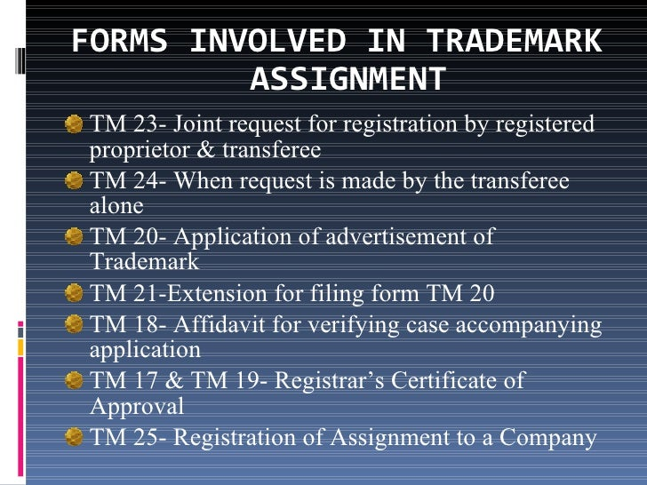 Assignment of trademarks – Trademark Assignment Form