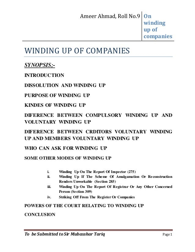 types of winding up of a company in india