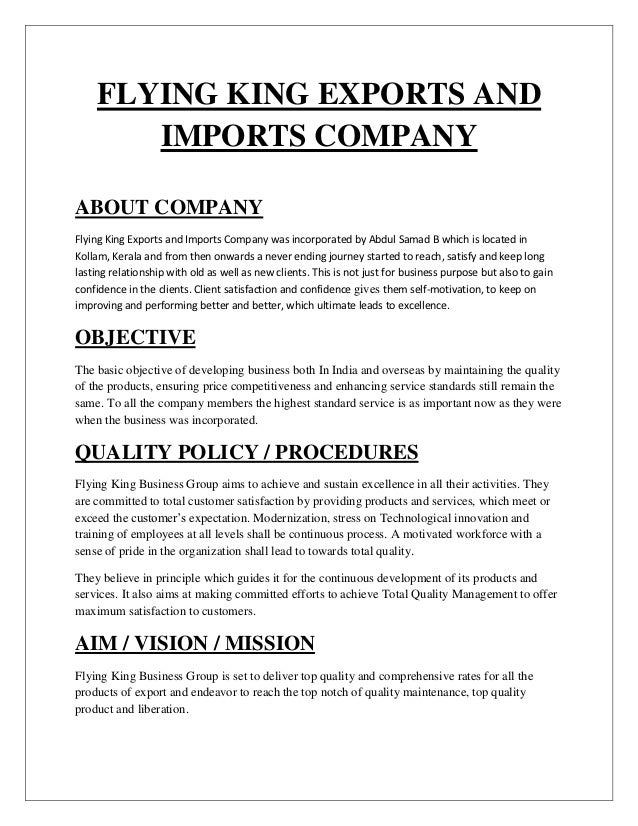 Assignment on export and import procedures of flying king exports and…