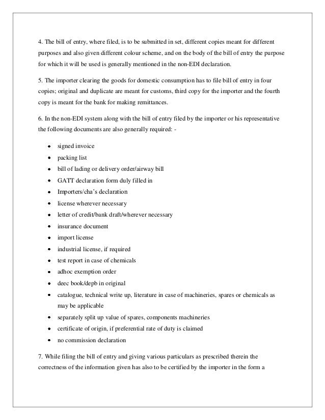 Assignment on export and import procedures of flying king exports and – Format for a Bill