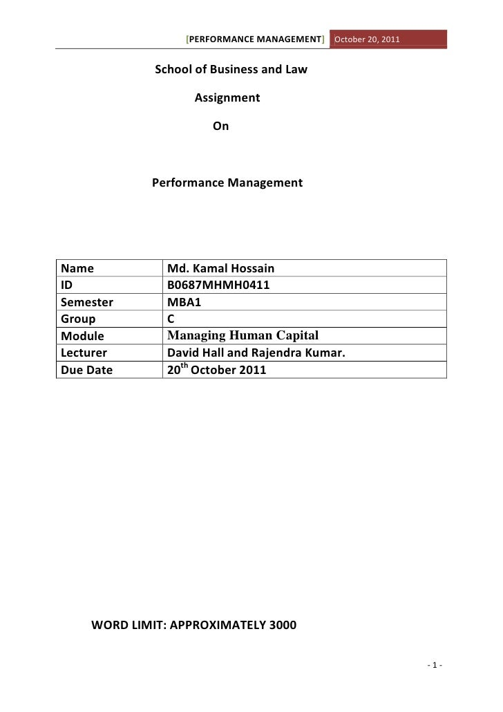 [PERFORMANCE MANAGEMENT] October 20, 2011             School of Business and Law                   Assignment             ...