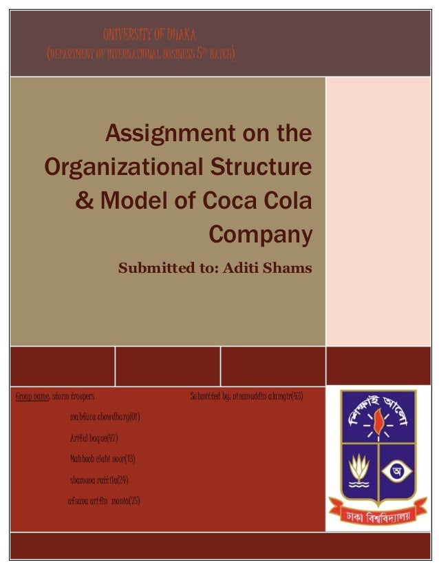 organizational structure of the coca cola company