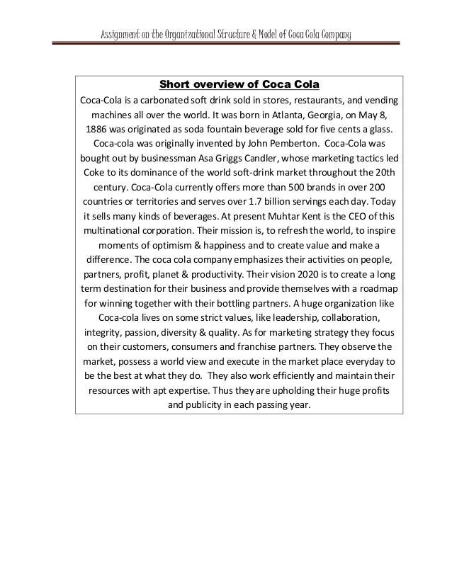 coca cola assignment 1 Week 1 written assignment – coca-cola's water neutrality initiative write 5 pages essay week 1 written assignment – coca-cola's water neutrality initiative.