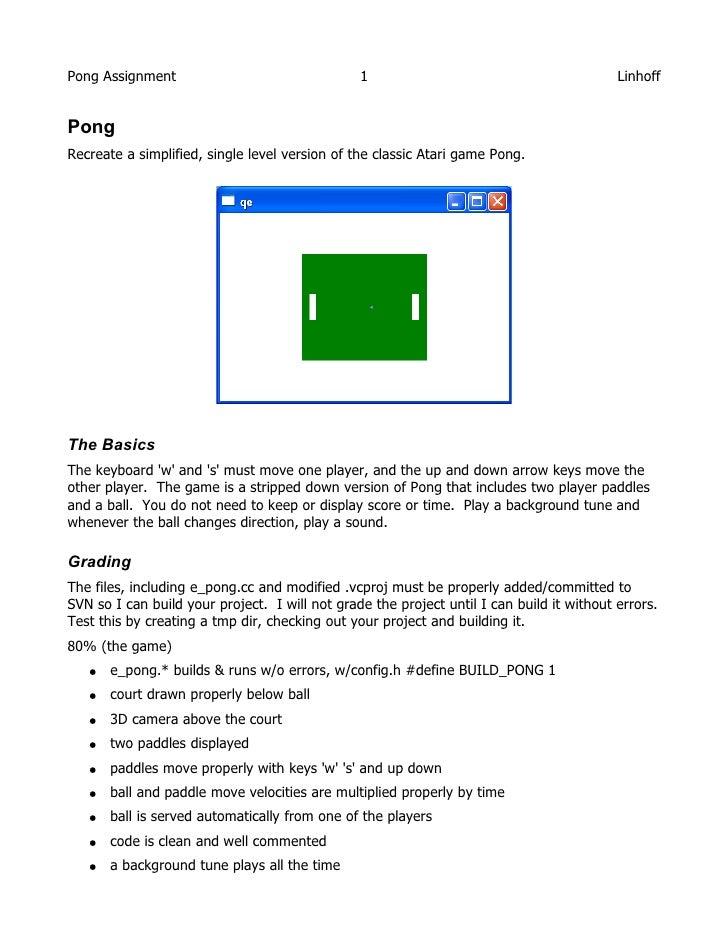 Pong Assignment                                 1                                          Linhoff   Pong Recreate a simpl...