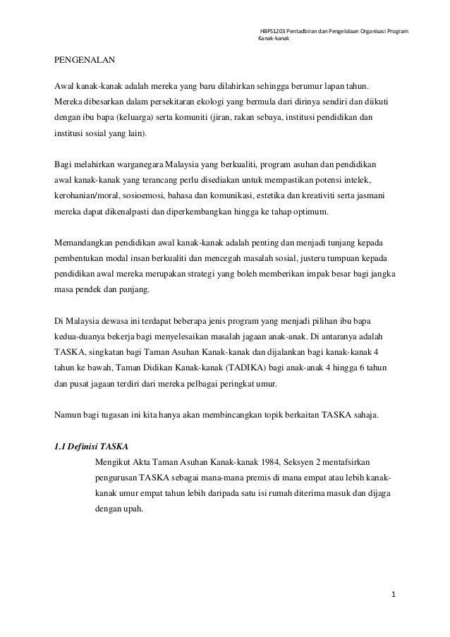 HBPS1203 Pentadbiran dan Pengelolaan Organisasi Program                                                        Kanak-kanak...