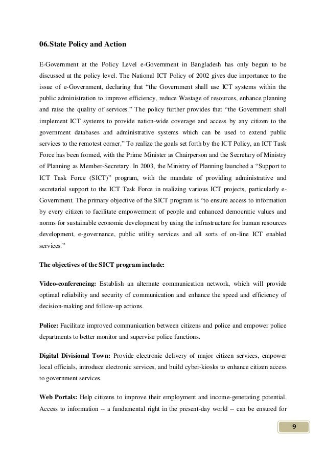 national ict policy assignment 's strategic objectives, national ict policy,  commitment, explicit assignment, and acknowledgment of ict security responsibilities  incl.