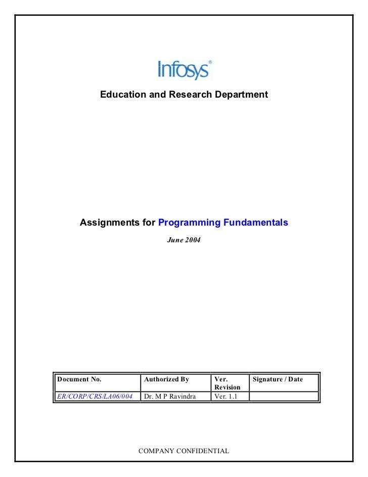 Education and Research Department           Assignments for Programming Fundamentals                                June 2...