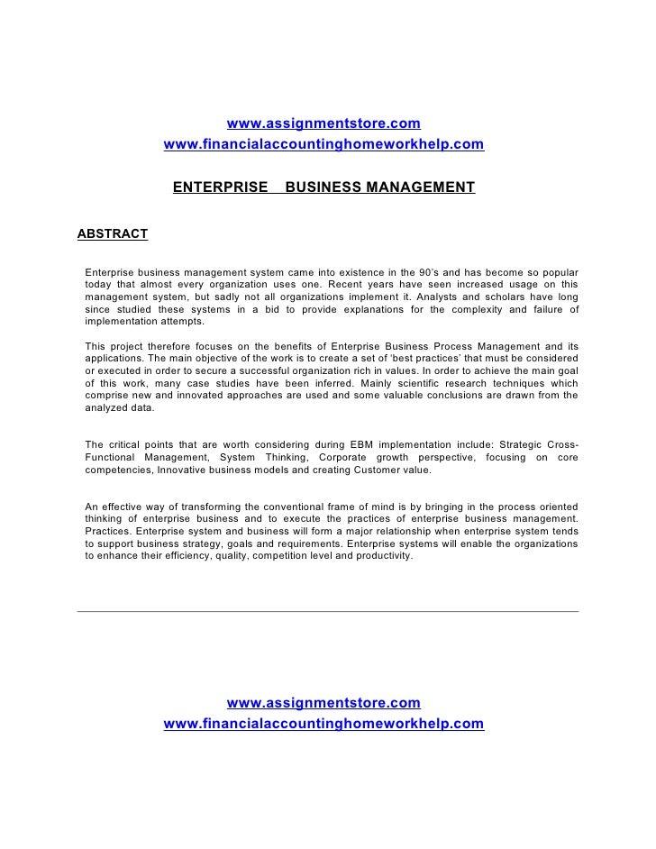 www.assignmentstore.com                 www.financialaccountinghomeworkhelp.com                    ENTERPRISE             ...