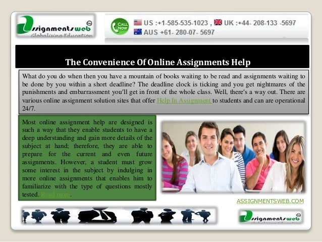 best site to do online assignments For students in need of assignment help on an essay or research paper, hire our experts to accompany you while they create original copy from scratch be sure that.