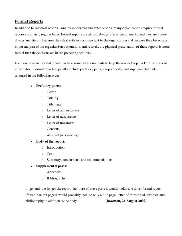 Formal Reports ...  Layout Of A Formal Report