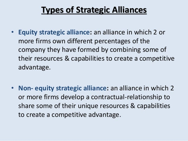 various forms of business alliance essay Horizontal and vertical alliances are business-level alliances  firms is a form of horizontal strategic alliance  partners form different .