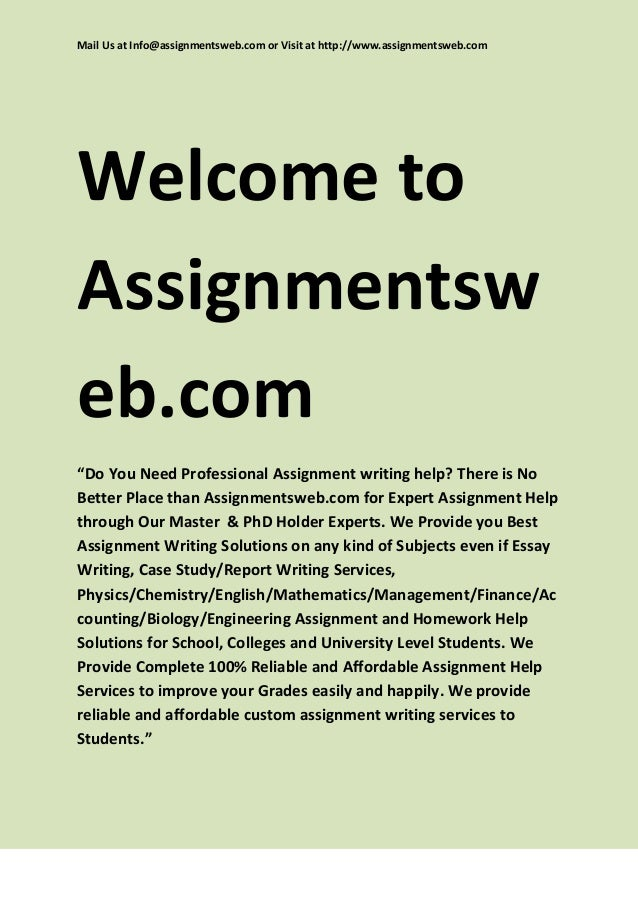 Help with assignment writing