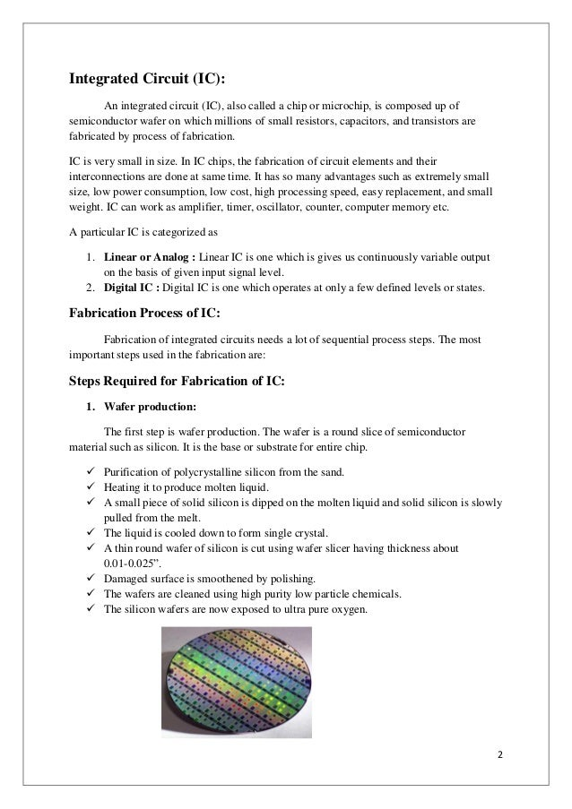Fabrication process of Integrated Circuit (IC's)