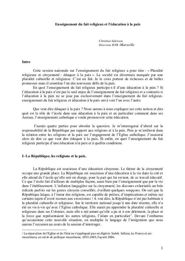 1Enseignement du fait religieux et l'éducation à la paixChristian SalensonDirecteur ISTR -MarseilleIntroCette session nati...