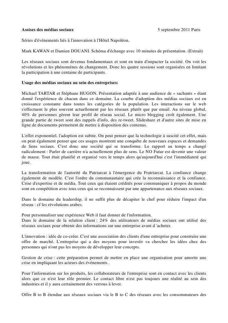 Assises des médias sociaux                                                  5 septembre 2011 ParisSéries dévénements liés ...