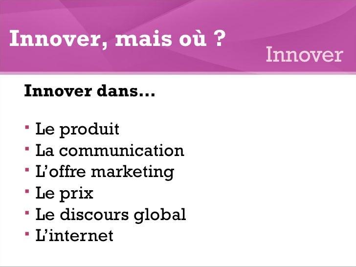<ul><li>Innover dans… </li></ul><ul><li>Le produit </li></ul><ul><li>La communication  </li></ul><ul><li>L'offre marketing...
