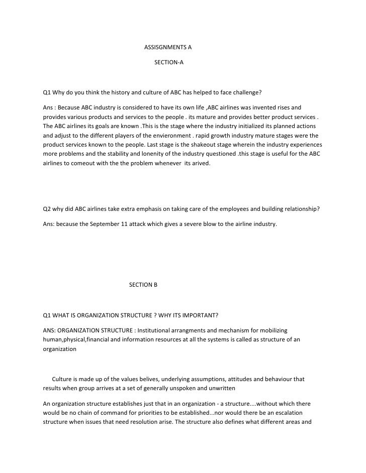 ASSISGNMENTS A                                          SECTION-AQ1 Why do you think the history and culture of ABC has he...