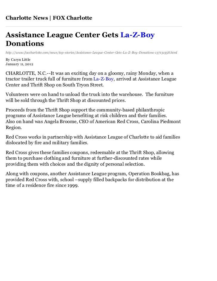 Charlotte News   FOX CharlotteAssistance League Center Gets La-Z-BoyDonationshttp://www.foxcharlotte.com/news/top-stories/...