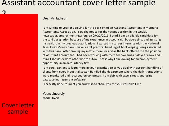 Assistant Accountant Cover Letter . Assistant Accountant ...