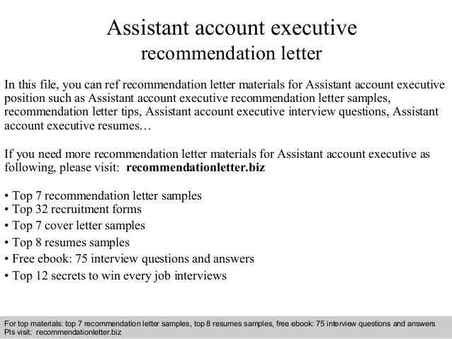 Assistant Account Executive Recommendation Letter