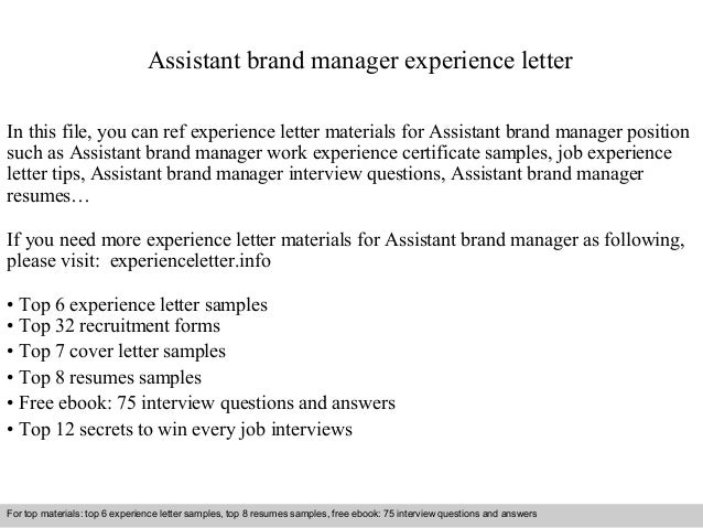 Assistant Brand Manager Cover Letter. Cover Letter Marketing Manager  Recommendation Letter Marketing .