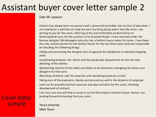 Assistant Buyer Cover Letter ...