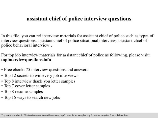 Assistant Chief Of Police Interview Questions