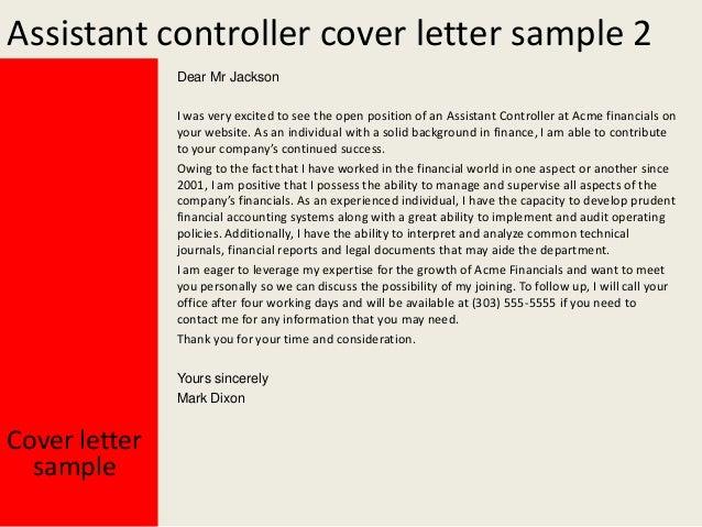 Assistant Controller Cover Letter Idea