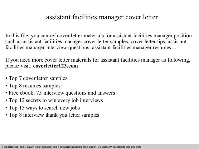 Assistant facilities manager cover letter for Cover letter for project assistant position