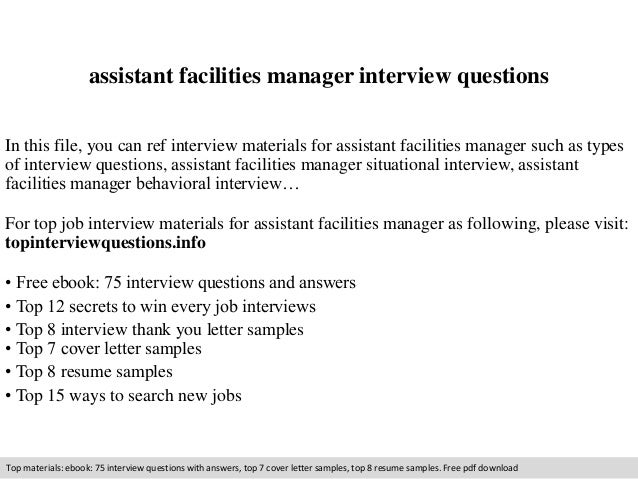 Assistant Facilities Manager Interview Questions In This File, You Can Ref  Interview Materials For Assistant ...  Facility Manager Job Description