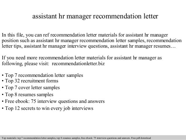 Assistant Hr Manager Recommendation Letter In This File, You Can Ref Recommendation  Letter Materials For ...
