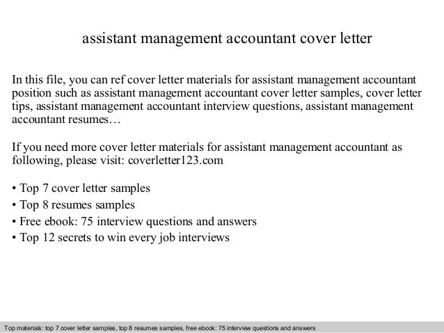 Assistant Management Accountant Cover Letter In This File, You Can Ref Cover  Letter Materials For ...