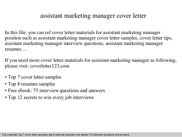 assistant marketing manager cover letter Use this free professional assistant manager cover letter as inspiration to writing your own assistant manager cover letter for a job application and resume to get hired.