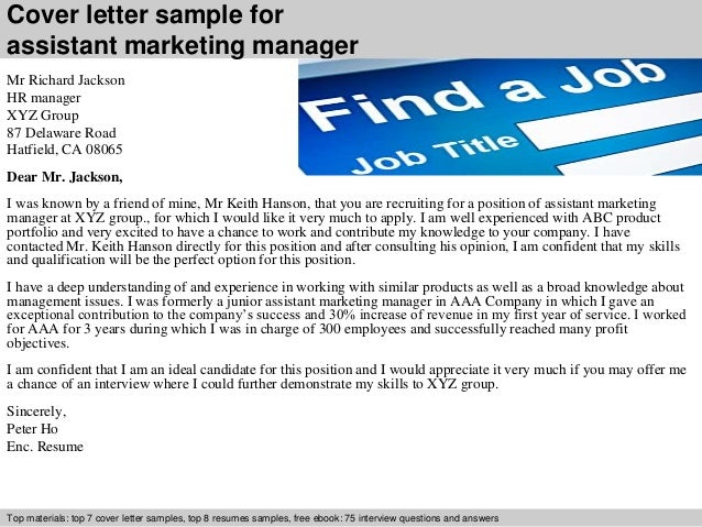 Cover Letter Sample For Assistant Marketing Manager ...