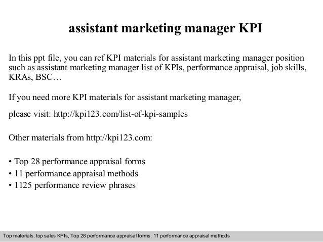Assistant marketing manager kpi