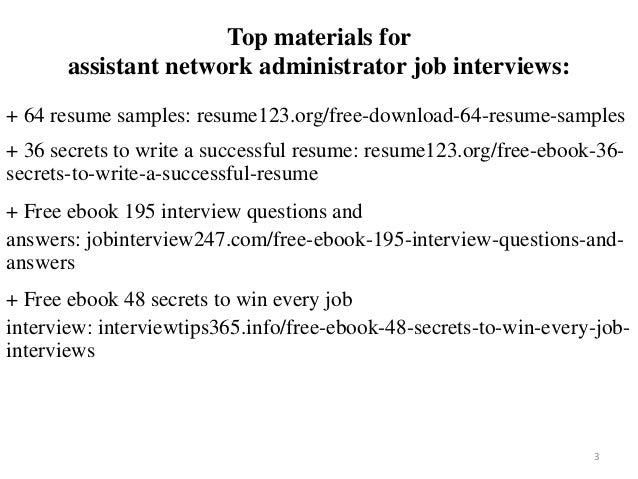 Assistant Network Administrator Resume Sample Pdf Ebook Free Download
