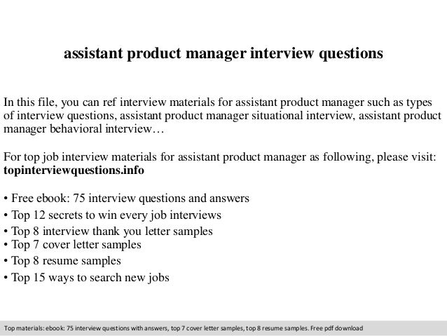 Assistant product manager interview questions