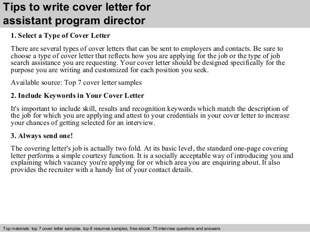 assistant to the director cover letter