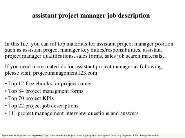 Assistant Project Manager Job Description In This File, You Can Ref Top  Materials For Assistant ...