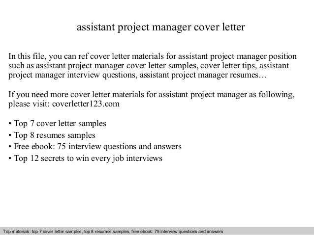 cover letter for project assistant position assistant project manager cover letter
