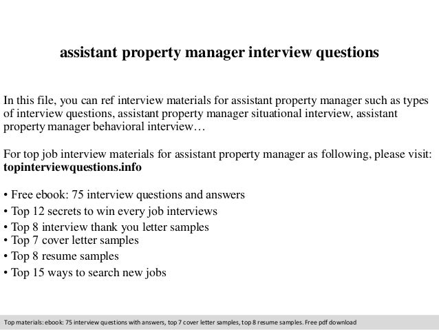 Assistant Property Manager Interview Questions