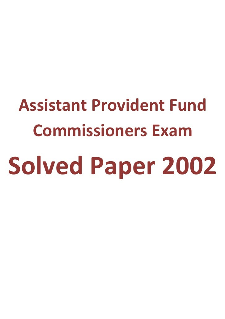 Assistant Provident Fund Commissioners ExamSolved Paper 2002
